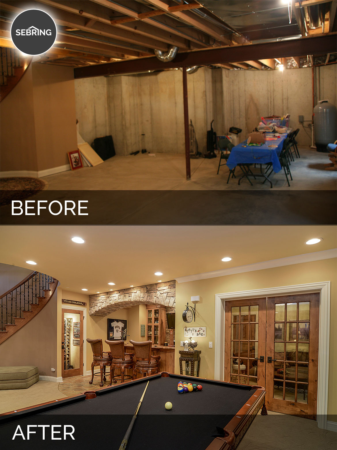 Basement Remodel Contractors brian & danica's basement before & after pictures | home