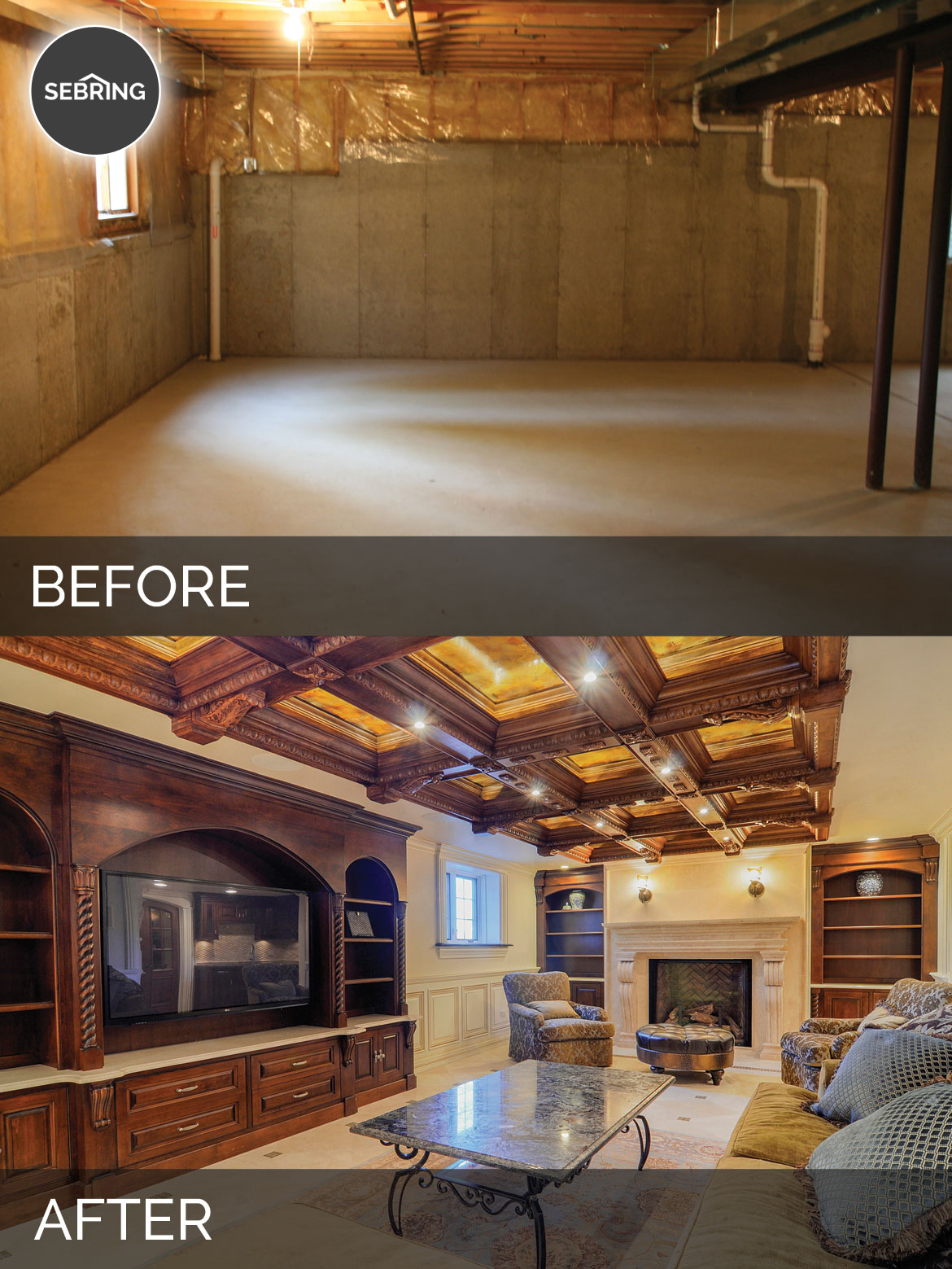 Steve & Ann's Basement Before & After Pictures