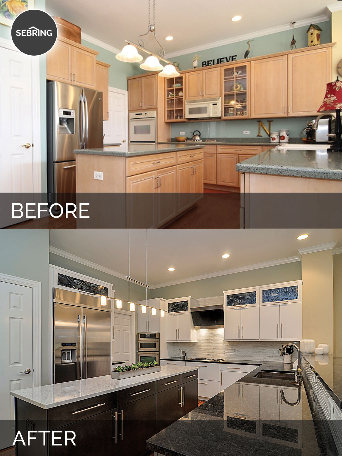 Before & After Kitchen Aurora - Sebring Design Build