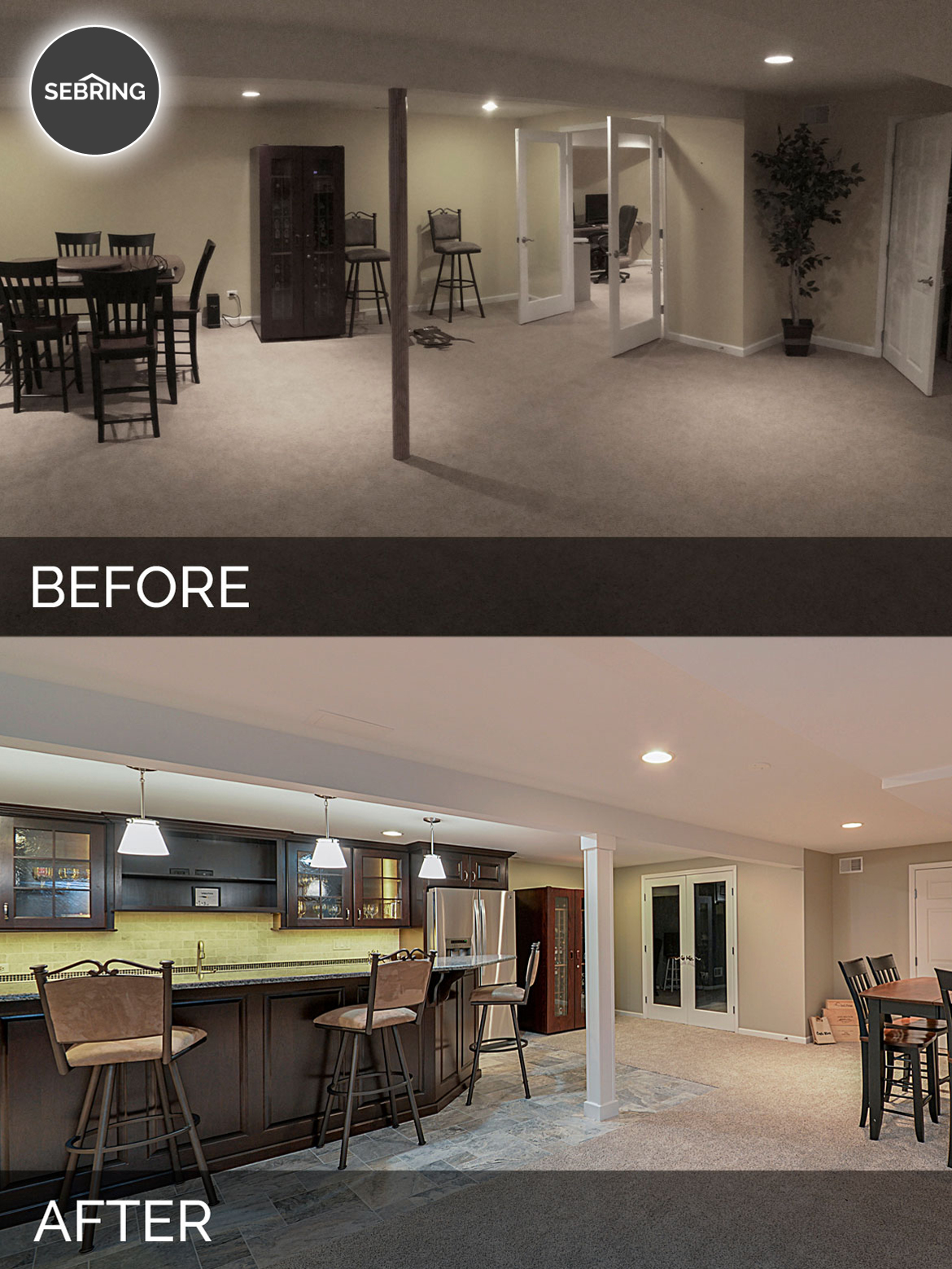 Before And After Diy Kitchen Renovation: Brett & Carolyn's Basement Before & After Pictures
