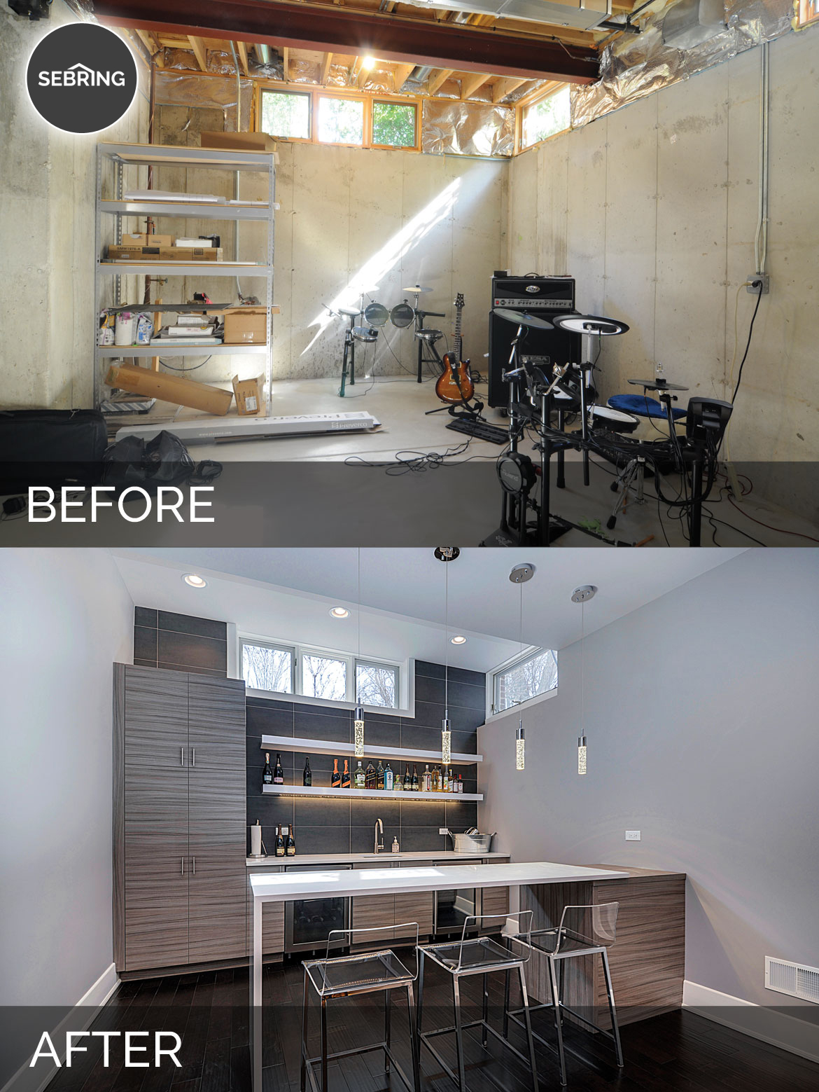 Before & Wheaton Basement Naperville - Sebring Design Build