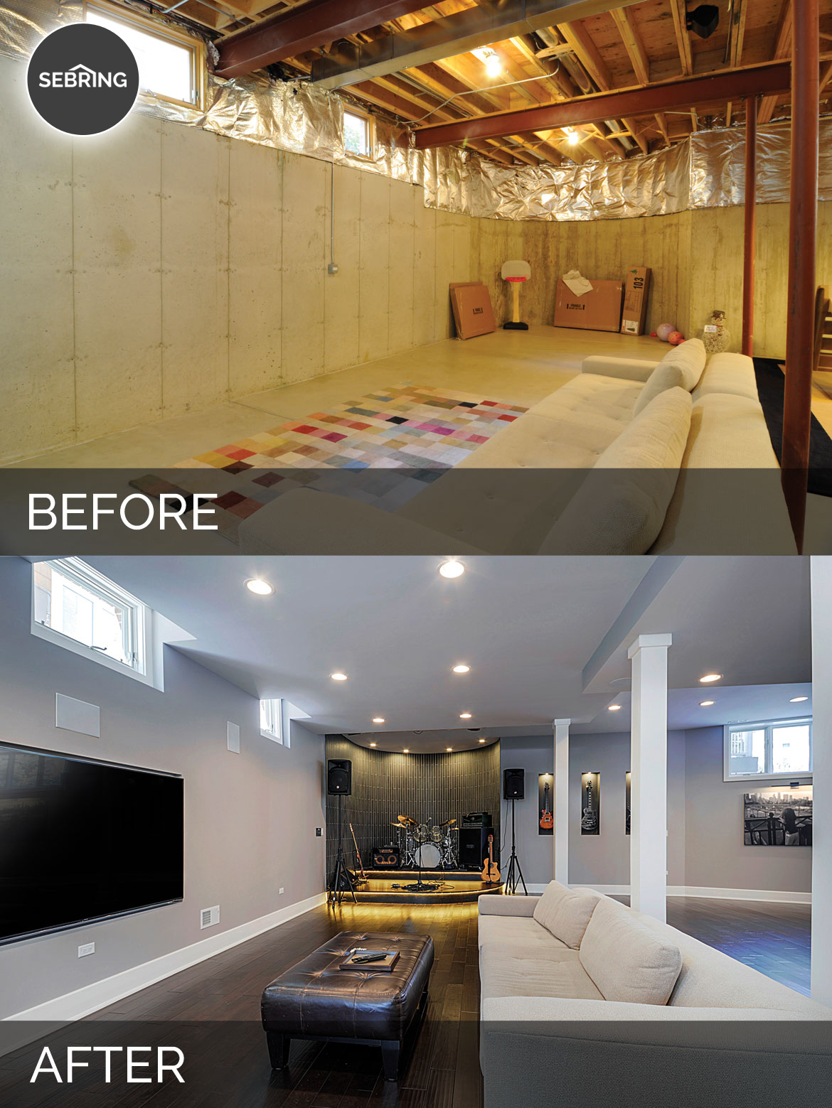 Sidd Nisha S Basement Before After Pictures Home Remodeling Contractors Sebring Design Build