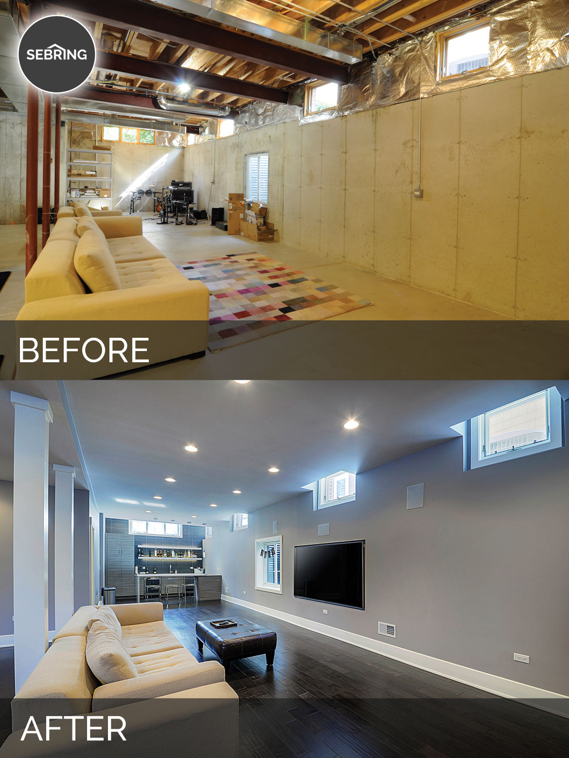 Basement Remodeling Contractors sidd & nisha's basement before & after pictures | home remodeling