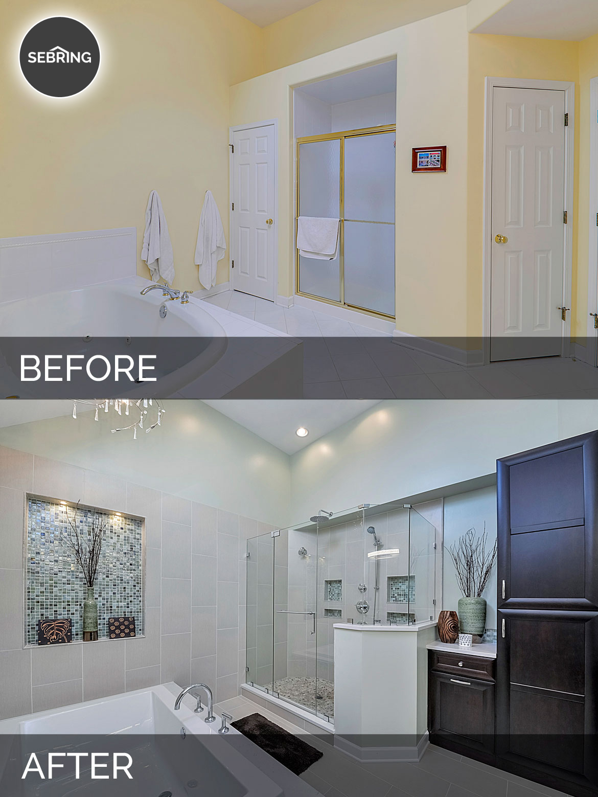 Steve nicolle 39 s master bath before after pictures for Bathroom before and after