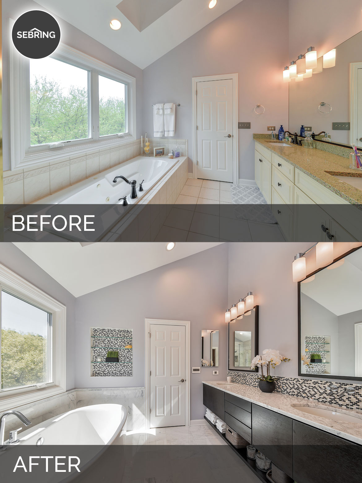 Doug natalie 39 s master bath before after pictures for Bathroom renovation before and after