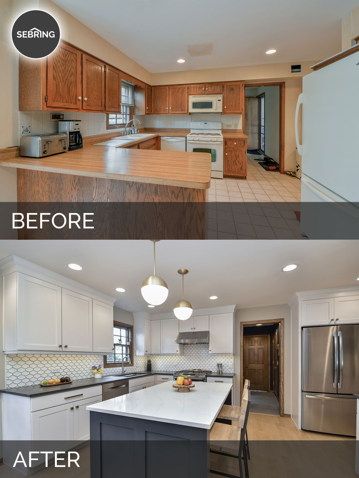 Justin carina s kitchen before after pictures home Before and after interior design projects