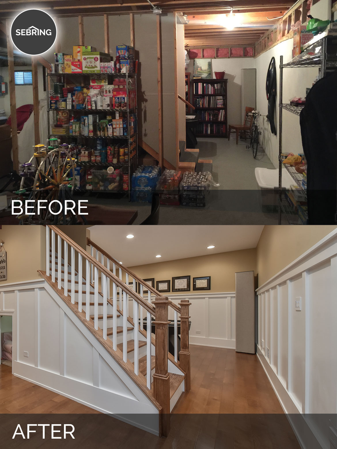 Before After Basement Naperville Sebring Design Build