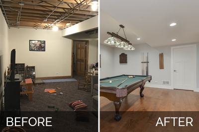 Elmhurst basement remodeling project pictures Before and After Pictures - Sebring Design Build
