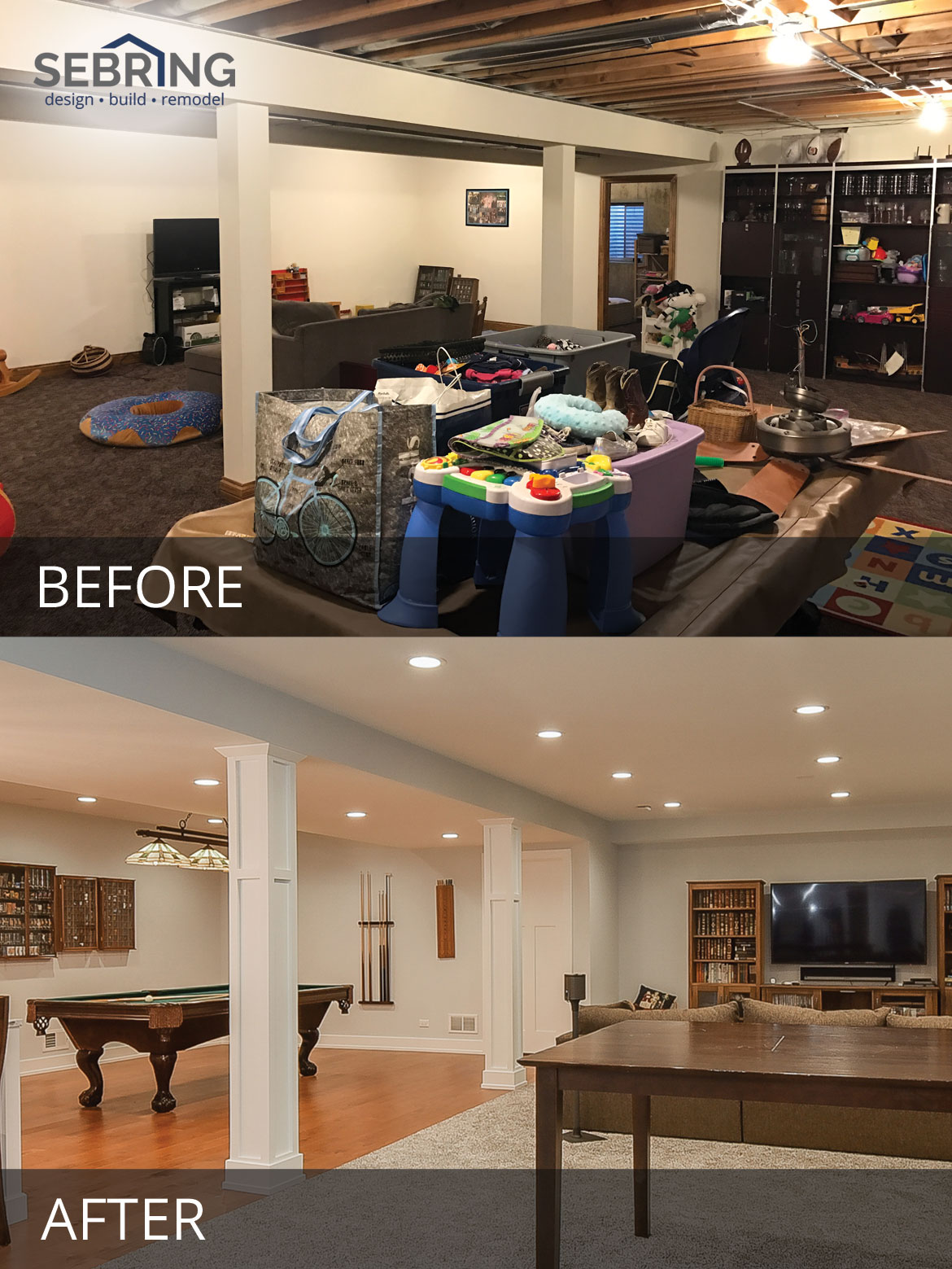 Elmhurst basement remodeling project pictures Before and After Pictures - Sebring Design Build