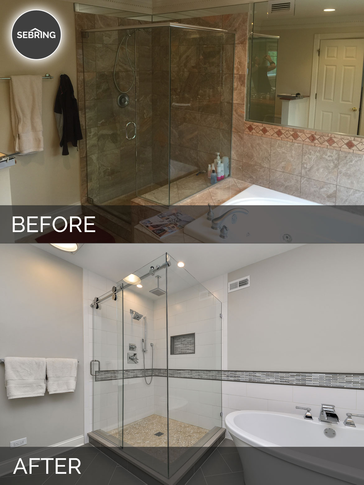 Greg julie 39 s master bathroom remodel before after pictures home remodeling contractors - S bathroom remodel before and after ...