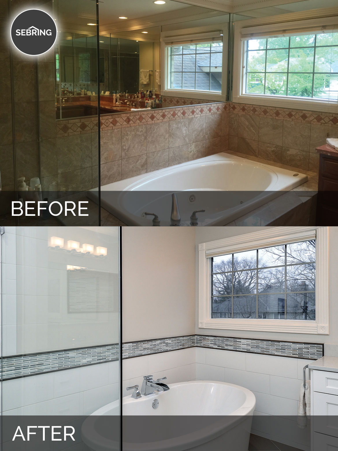 View larger image master bathroom remodel hinsdale before after sebring design build