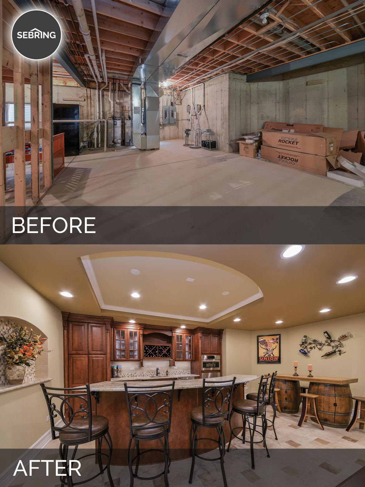 Basement Remodel Naperville Before & After - Sebring Design Build