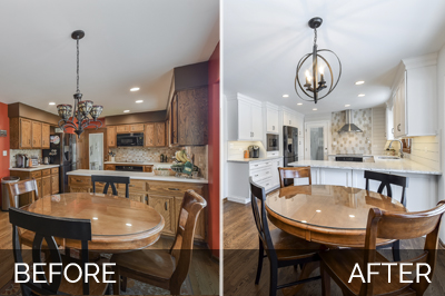 Before and after, a cozy Naperville kitchen with white quartz countertops, stove focal point tile - Sebring Design Build