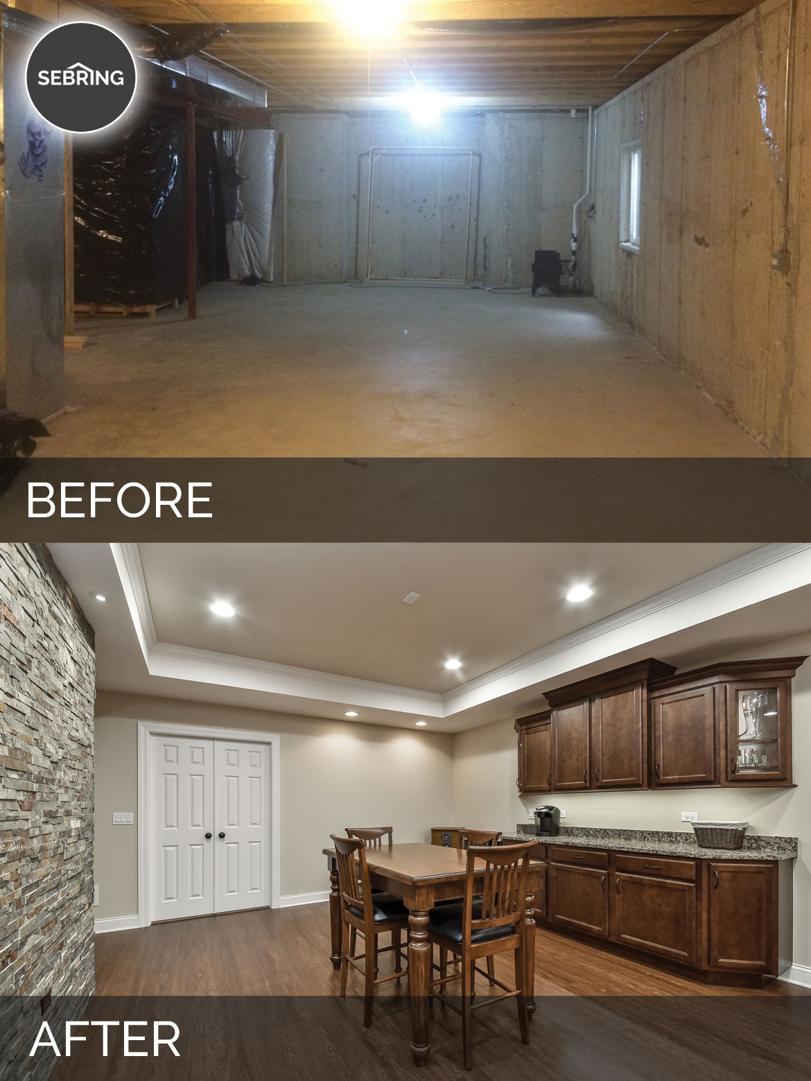 Before And After Diy Kitchen Renovation: Brian & Kelli's Basement Before & After Pictures