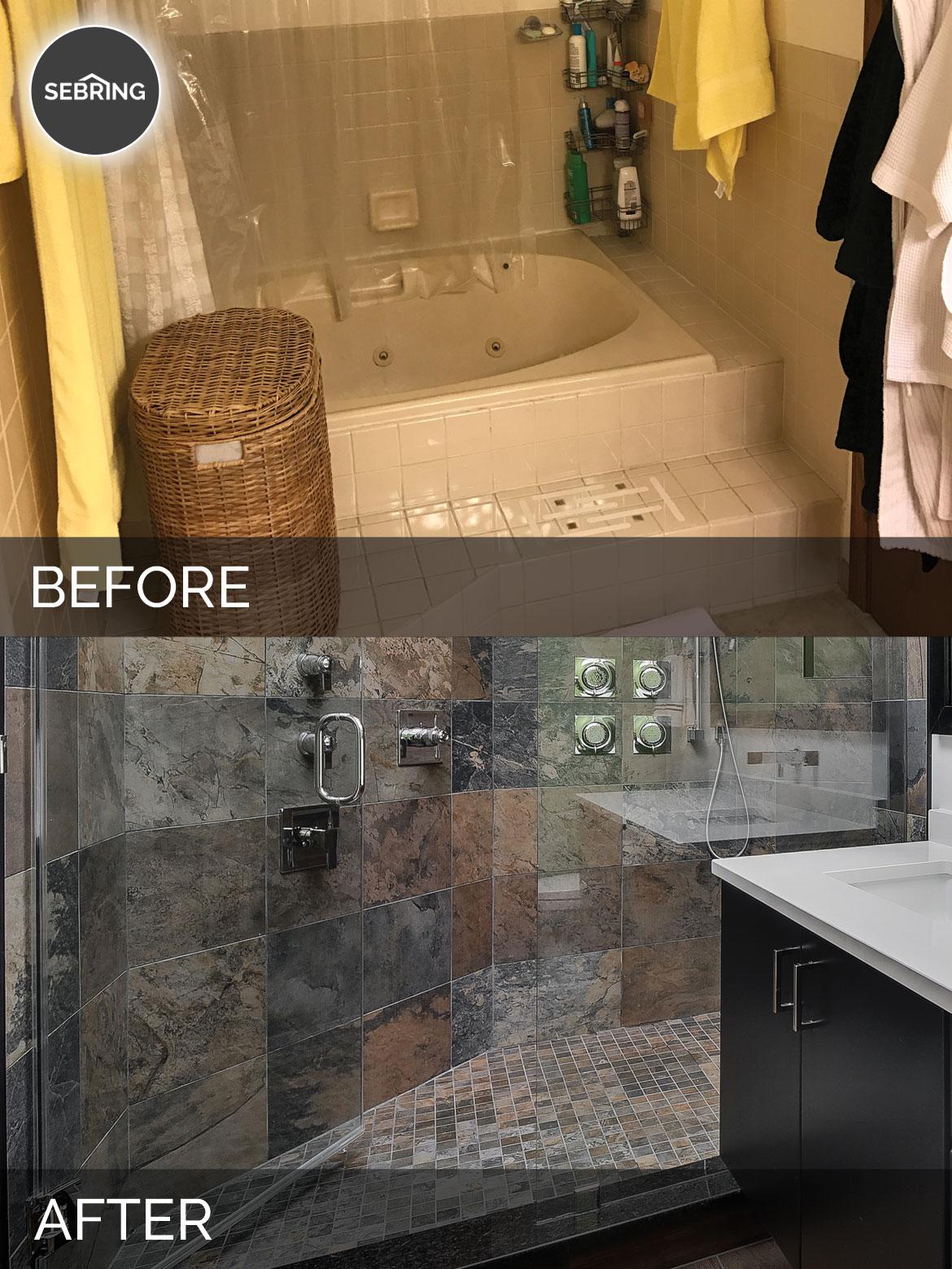 Naperville Master Bathroom Before & After - Sebring Design Build