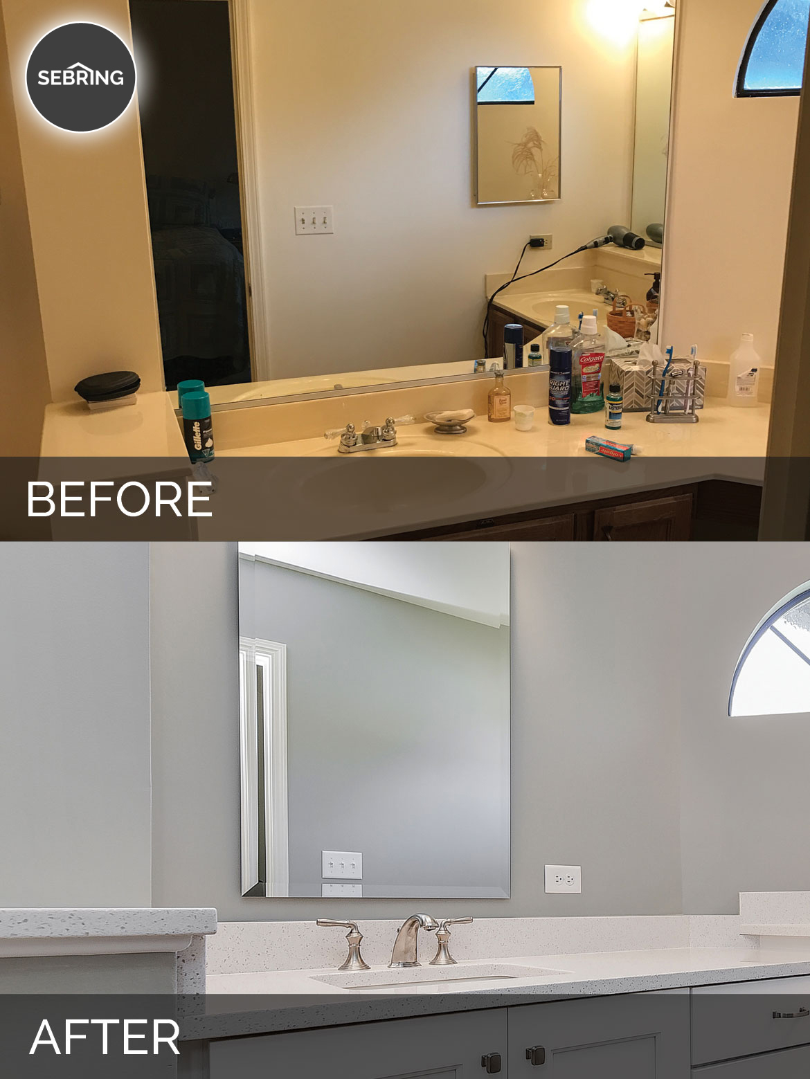 naperville master bathroom before after sebring design build - Bathroom Cabinets Before And After