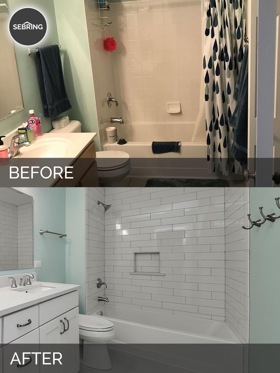 Before & After Guest Hall Bath Plainfield - Sebring Design Build