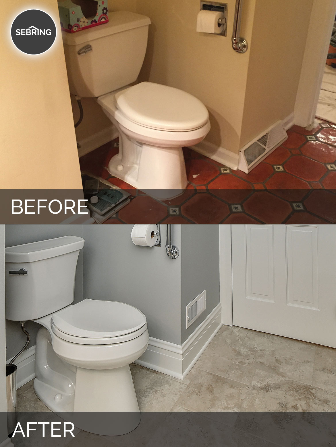 Before & After Powder Half Bath Warrenville - Sebring Design Build