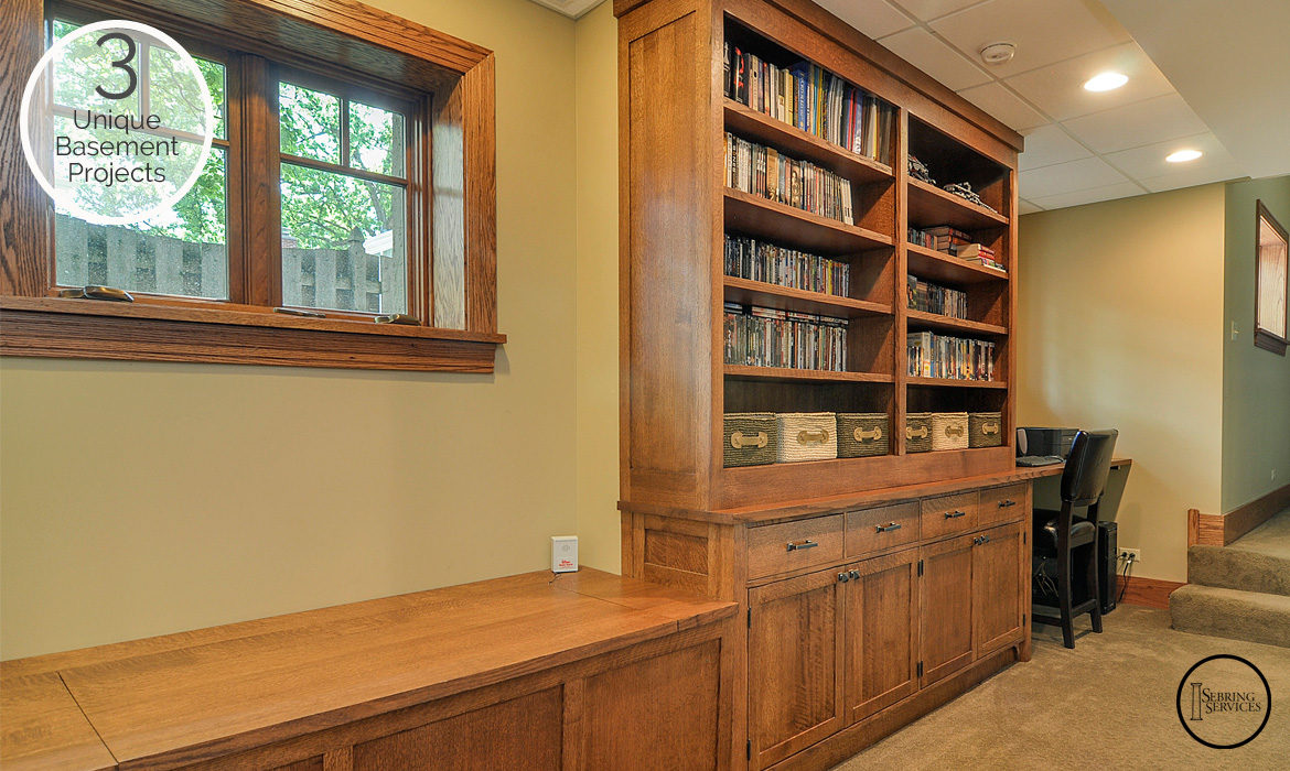 3 Unique Basement Finishing Projects Bookcase Sebring Services