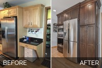 Lisle Kitchen Remodeling White Quartz Dark Cabinets Before & After Pictures - Sebring Services