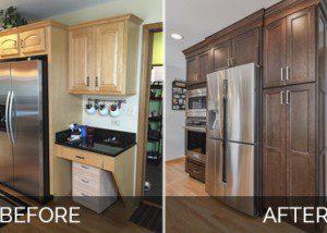Lisle Kitchen Remodeling White Quartz Dark Cabinets Before & After Pictures - Sebring Services