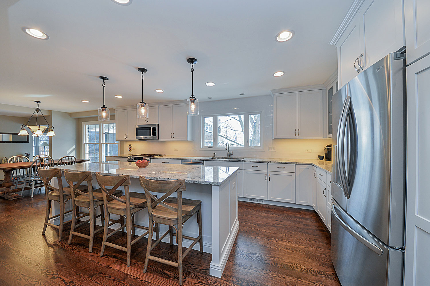 Kitchen Remodeling Ideas White Cabinetry White Quartz Aurora Naperville IL Illinois Sebring Services