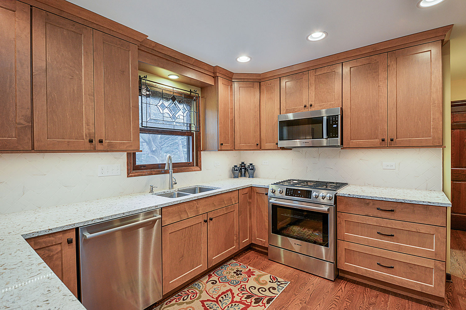 ... Kitchen Remodeling Ideas Dark Wood Cabinetry Light Granite Aurora  Naperville IL Illinois Sebring Services ...