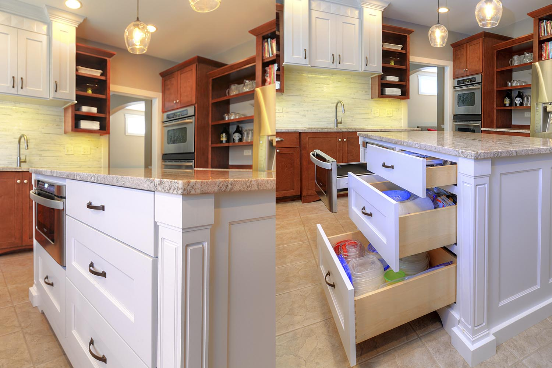 Kitchen Remodeling Ideas Wood Cabinetry White Quartz Aurora Naperville IL Illinois Sebring Design Build