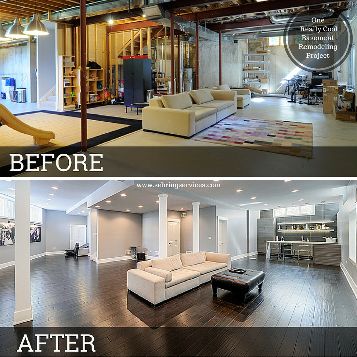 Home Design Basement Ideas: Before & After: One Really Cool Basement Remodeling