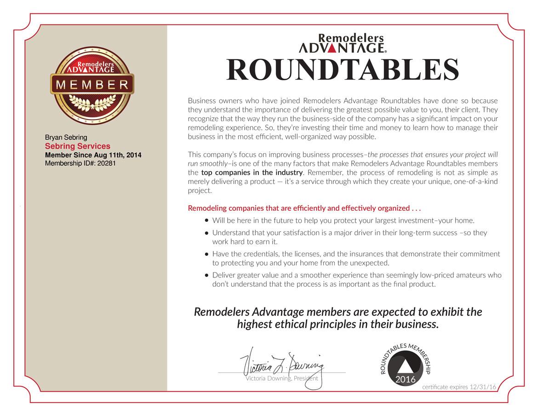 Remodelers Advantage Certificate - Sebring Services