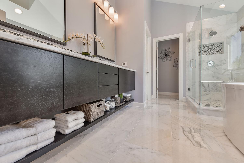 Innovative Mixed Quartz Shower Flooring With Quartz Accent  Pebble Tile Shop