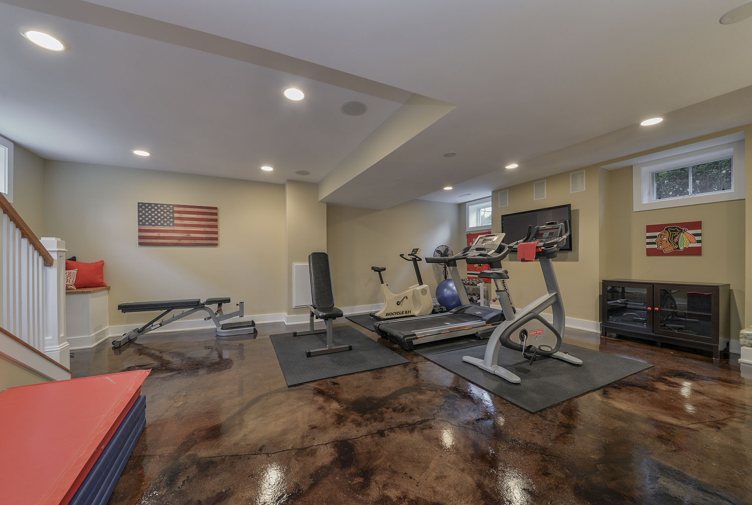 Workout Exercise Room Finished Basement Remodeling Hinsdale Sebring Services