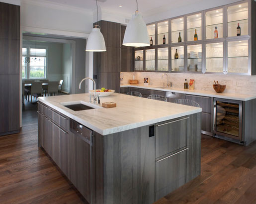 Gray Kitchen Cabinets With Copper Hardware
