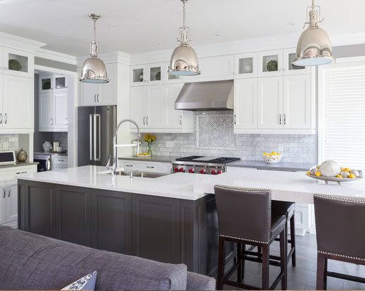 Gray Washed Colored Kitchen Cabinets