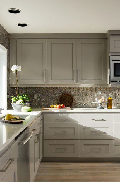 Soft Gray Kitchen Cabinets With White Appliances