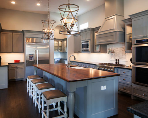 The Psychology Of Why Gray Kitchen Cabinets Are So Popular Home - Grey kitchen cabinets with wood countertops