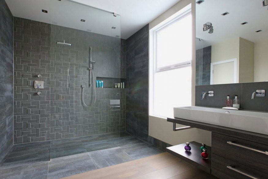 27 walk in shower tile ideas that will inspire you home for Open shower bathroom