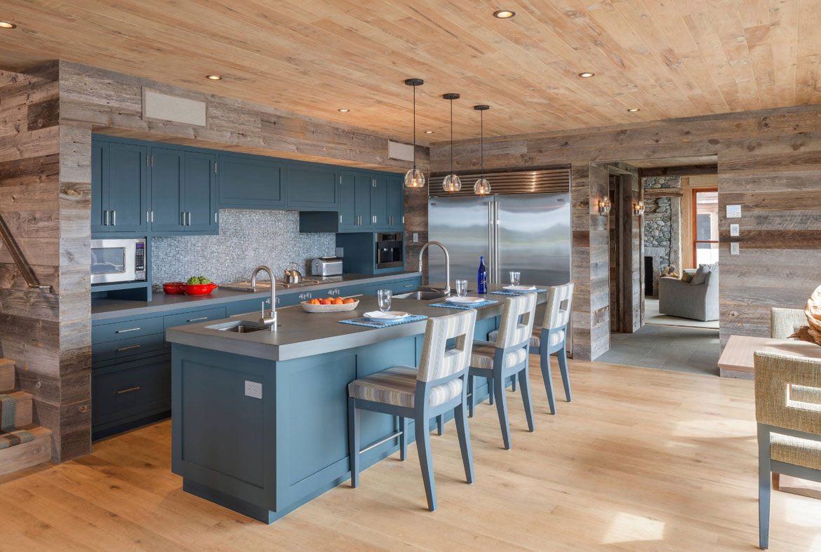 Copen Blue Kitchen With Wood Cabinets