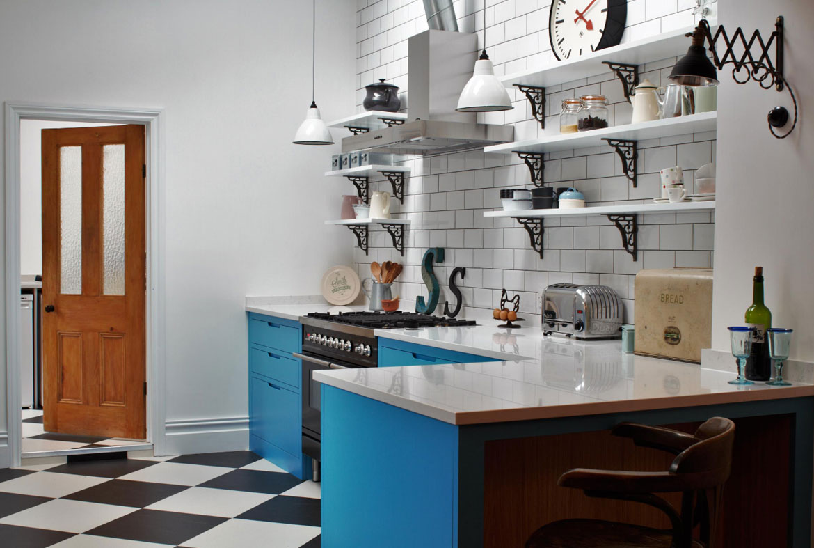 WHIMSICAL INDUSTRIAL. Blue Kitchen Cabinets   Sebring Services