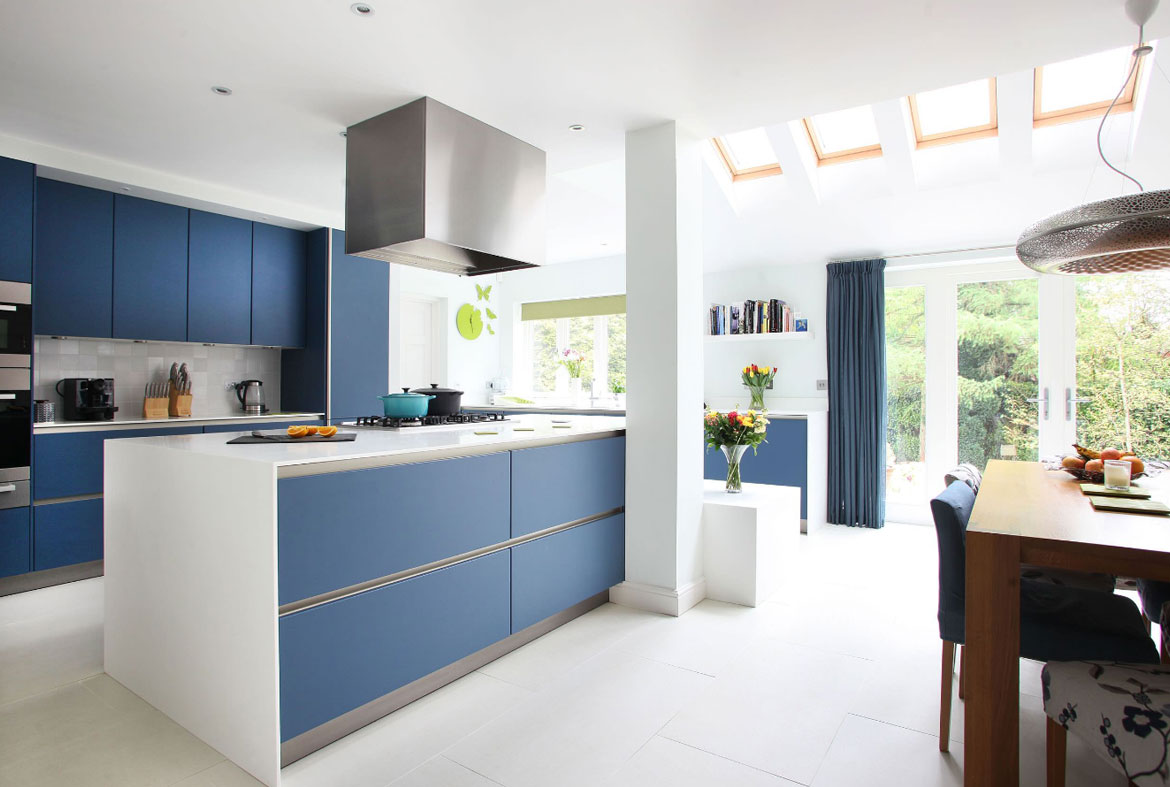 Country Blue Kitchen Island