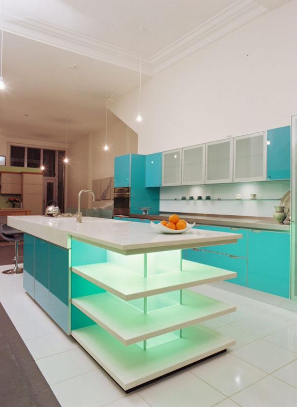 Blue Kitchen Cabinets - Sebring Services