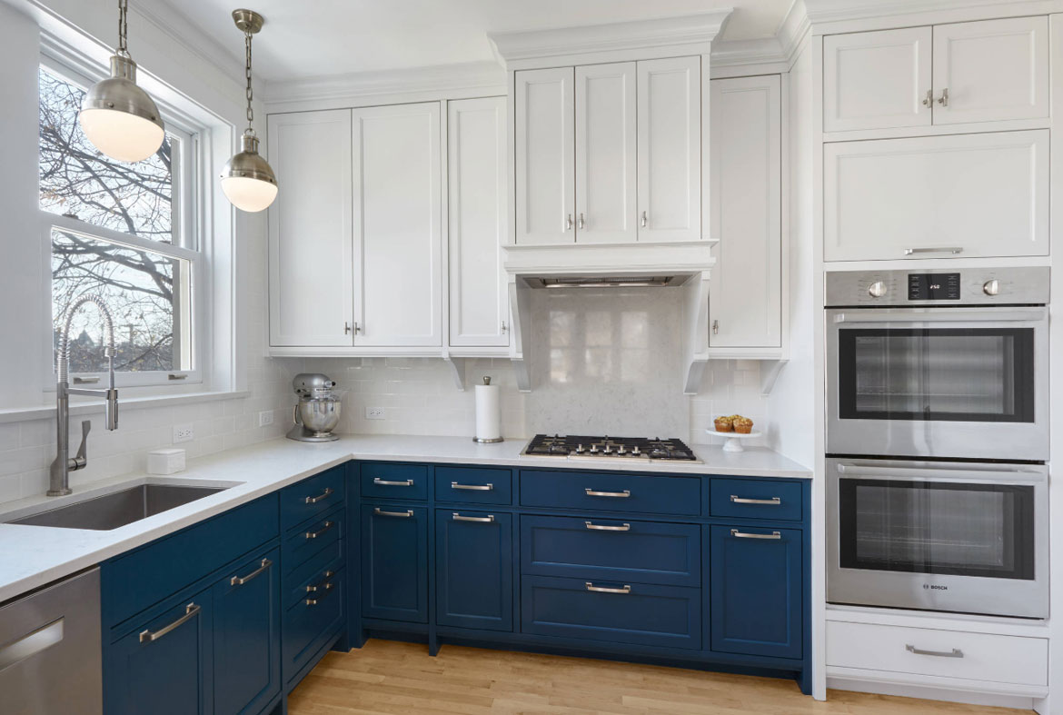 Design trend blue kitchen cabinets 30 ideas to get you for Grey blue white kitchen