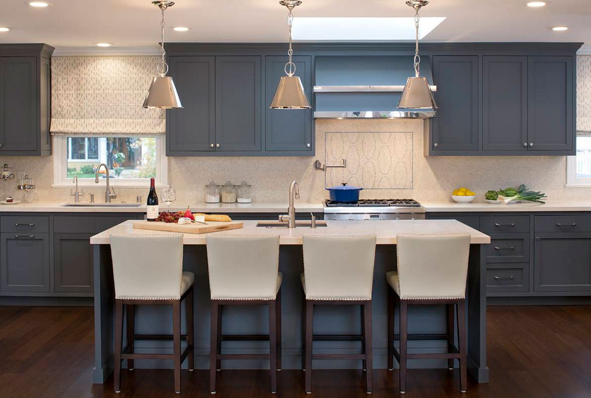 Dark blue kitchen cabinets images for Blue kitchen cabinets pictures