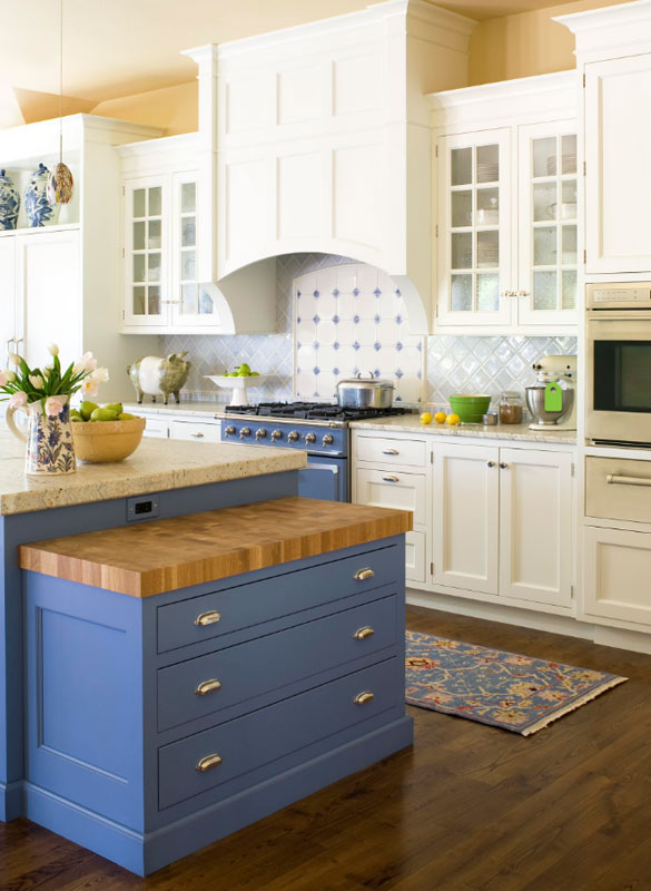 Grey Kitchen Cabinets With Blue Island design trend: blue kitchen cabinets & 30 ideas to get you started