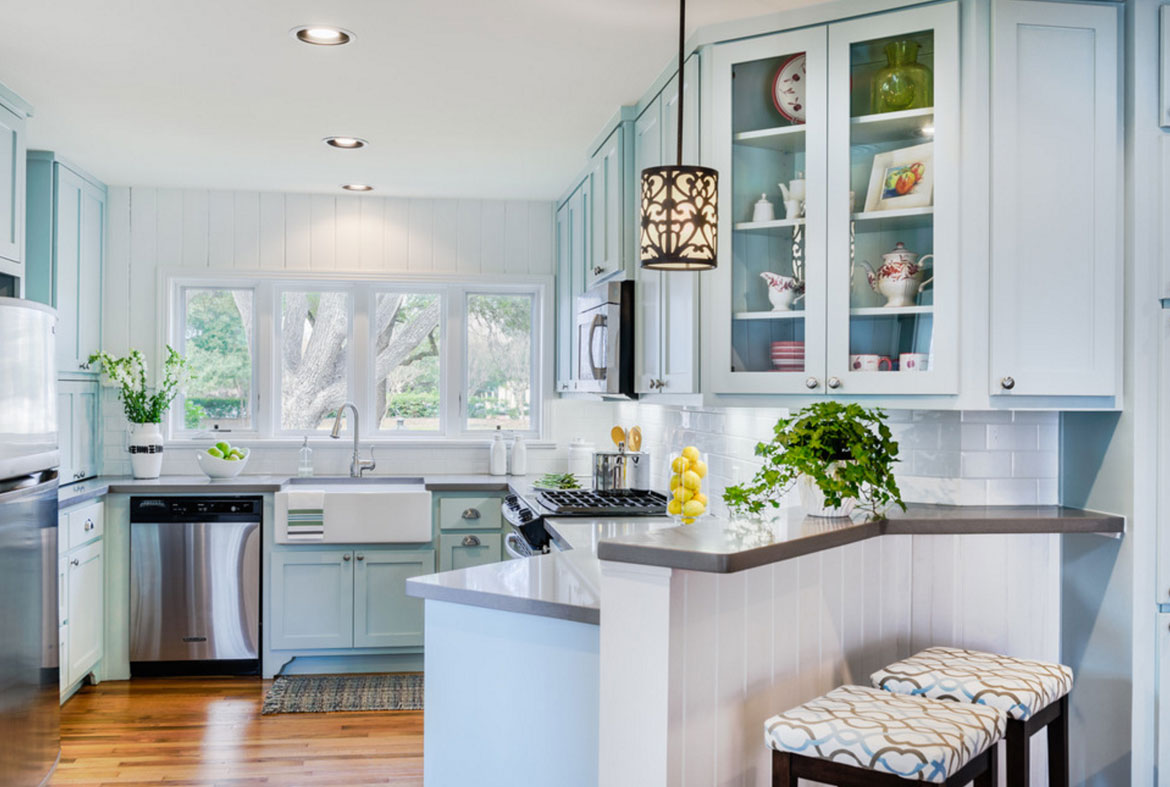 Steel Blue Kitchen Cabinets