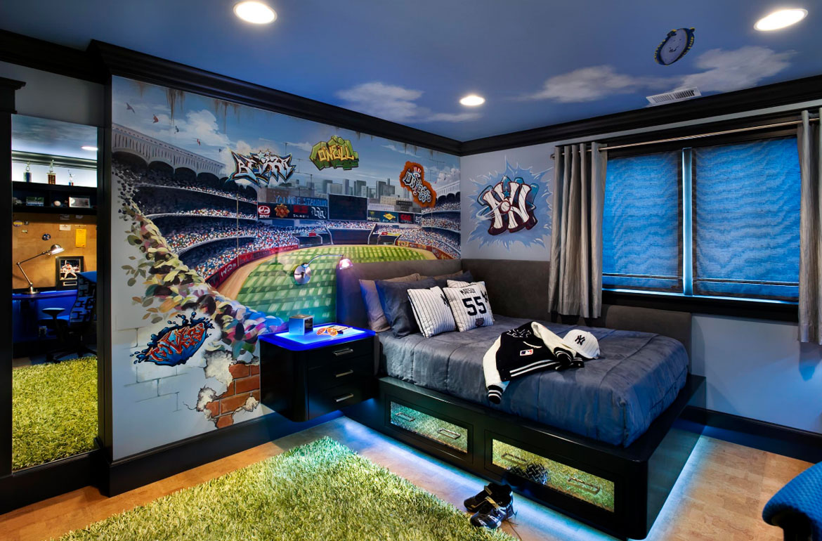 decor design green and brown living room decor interior design Really Fun Sports Themed Bedroom Ideas - Sebring Services