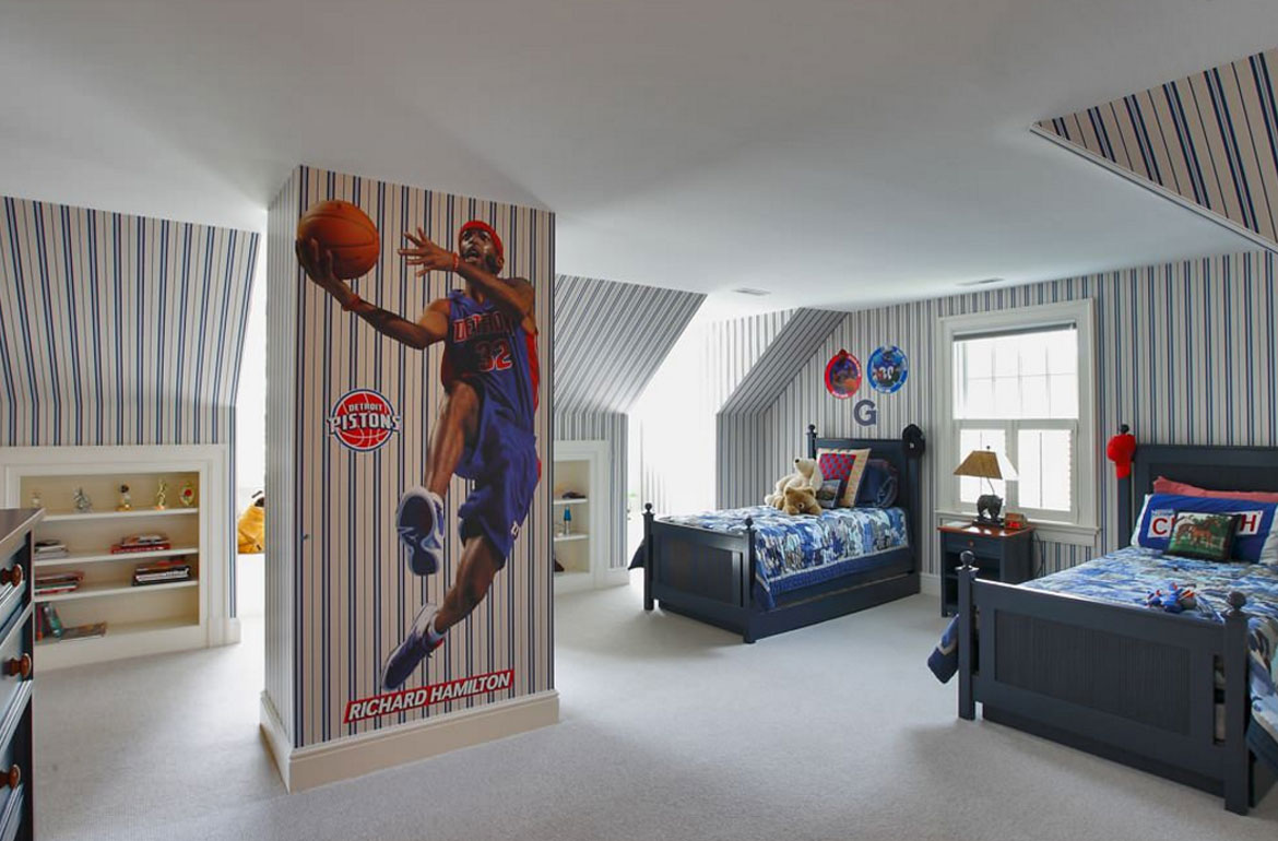 47 really fun sports themed bedroom ideas home for Themed bedroom wallpaper