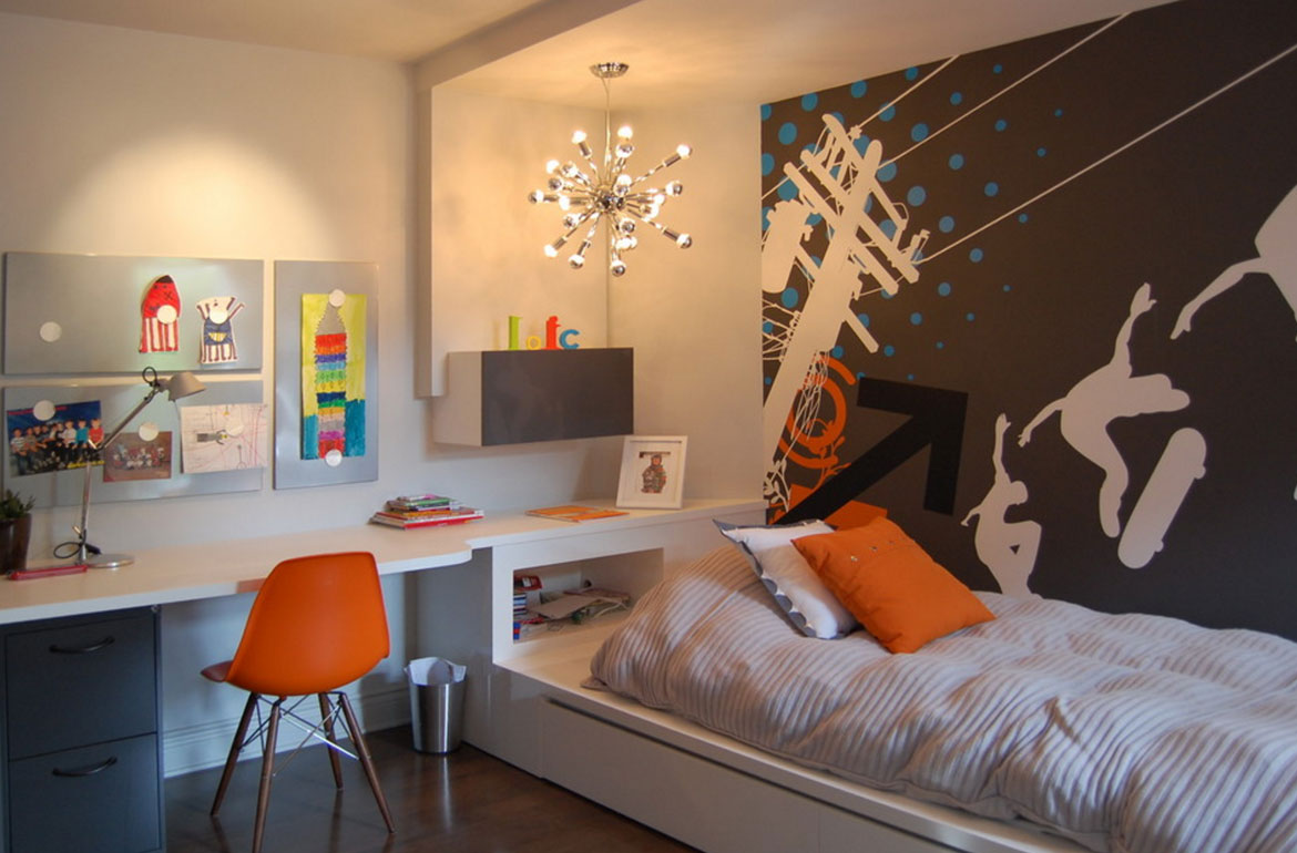 47 really fun sports themed bedroom ideas home for Boys room mural