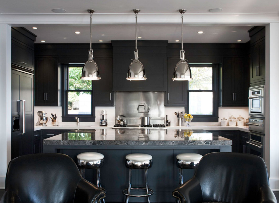 30 classy projects with dark kitchen cabinets home for Black white and gray kitchen design