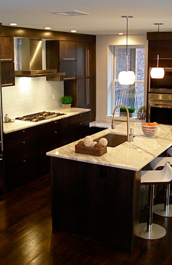 Red Mahogany Kitchen Cabinets Dark Kitchen Cabinets - Sebring Services
